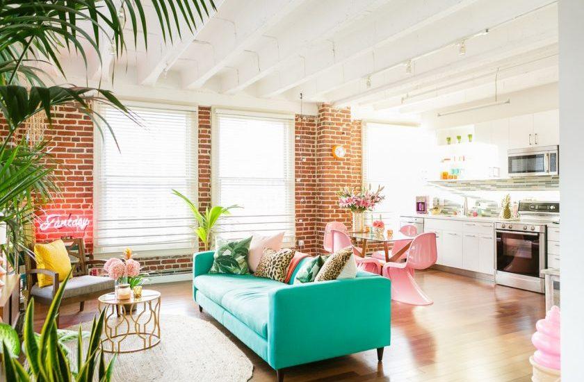 Urban jungle colorée appartement fluo multicolore