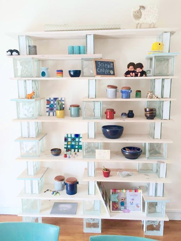 diy biblioth que en bois et verre blog deco clem. Black Bedroom Furniture Sets. Home Design Ideas