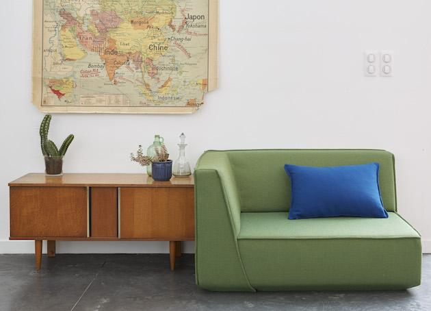 canapé fauteuil angle vert olive loft meuble scandinave années 50 - blog déco -clem around the corner