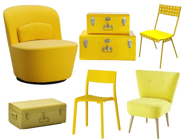 coin bureau jaune et gris idee deco