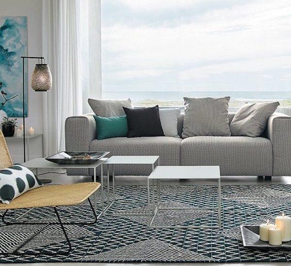 canape gris fauteuil osier salon