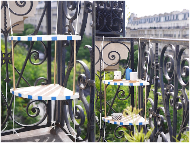Aménager son balcon la table d'angle DIY
