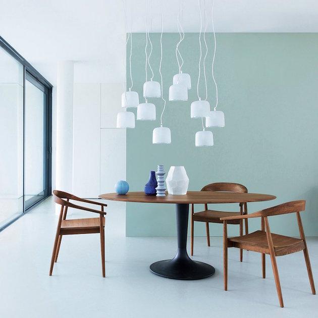 salle a manger bois mur mint vert bleu