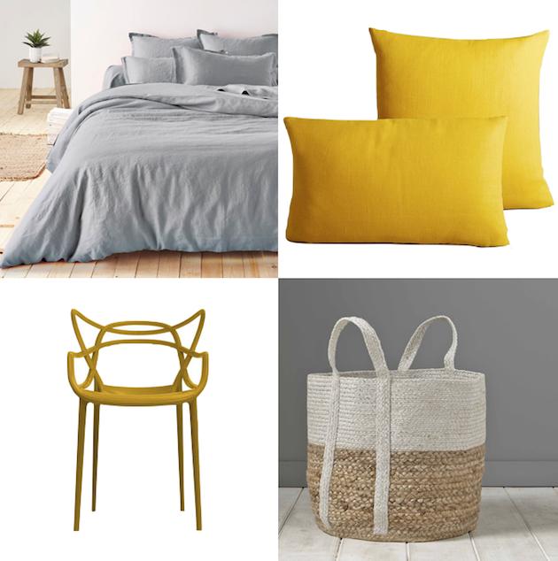 chambre jaune et gris id es et inspiration d co clem around thecorner. Black Bedroom Furniture Sets. Home Design Ideas