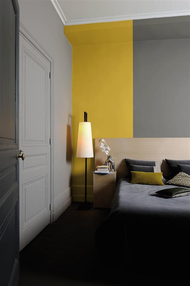 chambre jaune et gris id es et inspiration d co clem. Black Bedroom Furniture Sets. Home Design Ideas