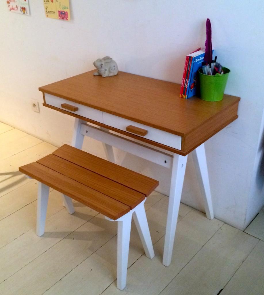 coin bureau style écolier moderne collection enfant made bois massif blanc