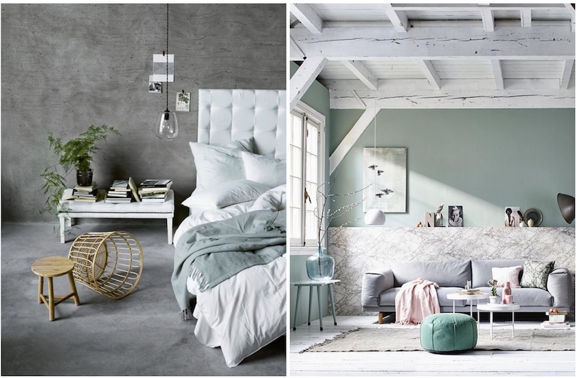 Tendance deco le gris vert blog deco clem around the for Chambre vert de gris
