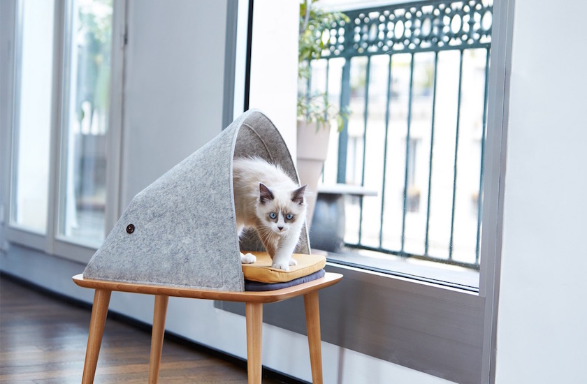 design animal litiere maison chat pied scandinave
