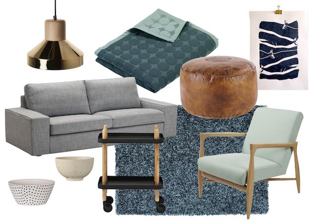 comment décorer un salon scandinave nuance de gris vert céladon vintage