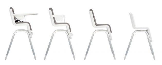 Chaise haute originale bébé hauteur adaptable pivotante blanche gris style industriel déco