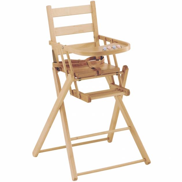 Chaise de repas pour bébé en bois vintage