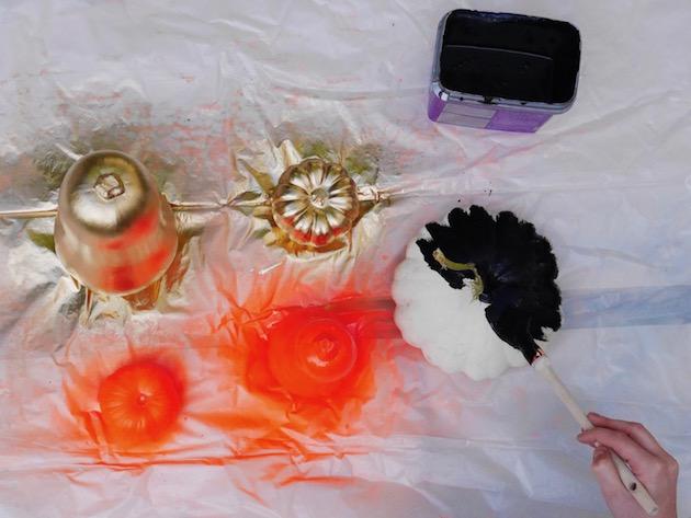 alternative à la citrouille Halloween diy decoration courge peinte