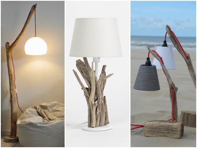 lampe diy bois flotté déco