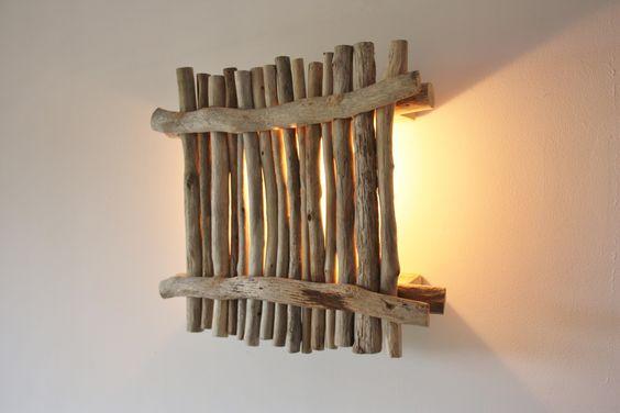 diy bois flotté lampe mur