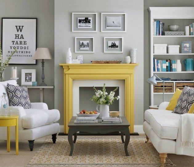 deco salon cheminee jaune diy