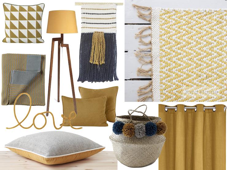 chambre jaune moutarde housse couette oreiller lin lave