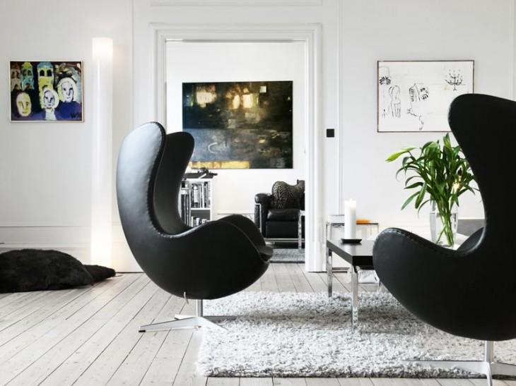 arne jacobsen fauteuil egg chair cuir noir