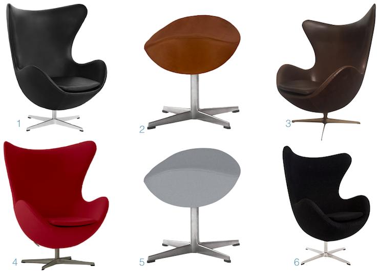 fauteuil egg chair Arne Jacobsen tissu cuir