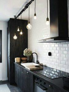 cuisine noire et blanche moderne