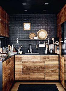 cuisine noir bois rustique carrelage peint