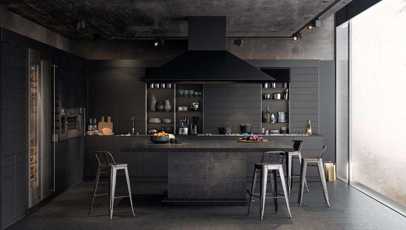 cuisine noir loft industriel decoration