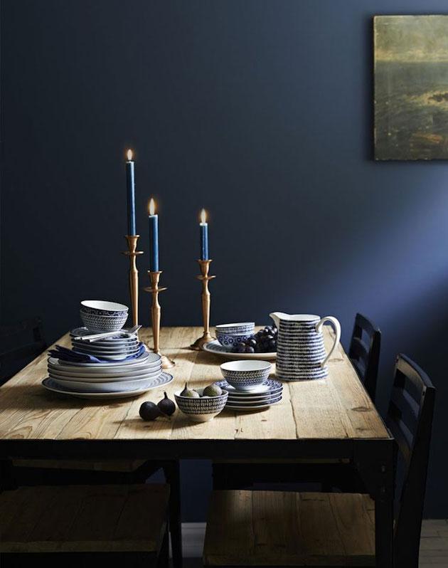 vaisselle decoration bleu marine salle a manger