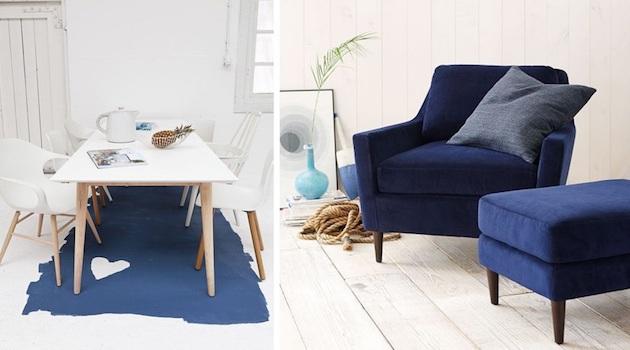 salle à manger bleu marine tapis