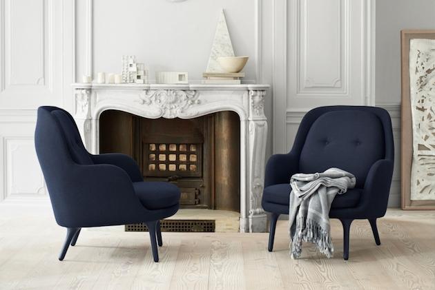decoration salon bleu marine fauteuil fritz hansen