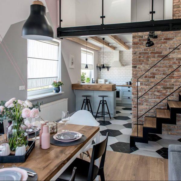 loft scandinave et industriel cuisine ouverte