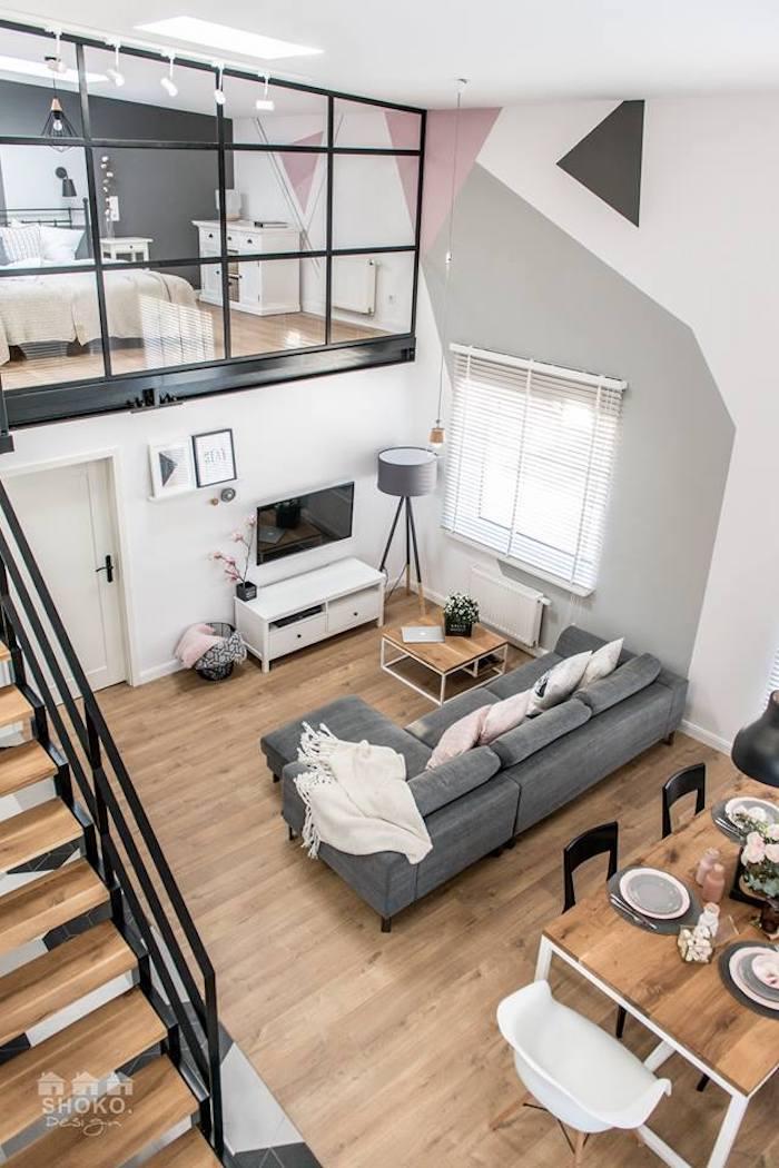 salon loft scandinave vu de haut