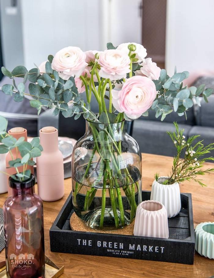 bouquet de bouton rose flocon vintage scandinave