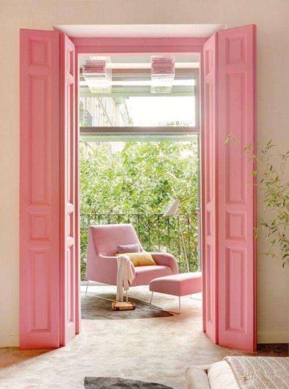 repeindre ses volets en bois en rose poudre