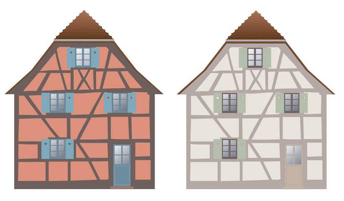 couleur maison en Alsace Strasbourg peinture facade colombages