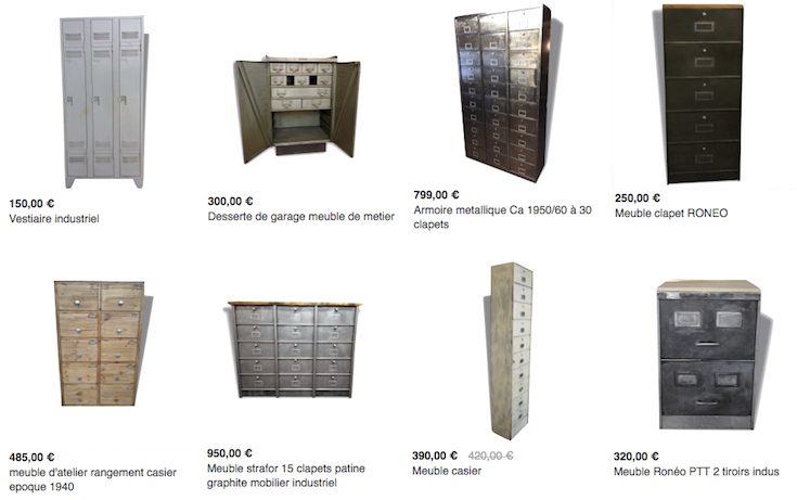 armoire métallique style années 30 grand casier industriel