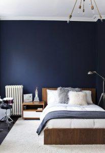 chambre elegante scandinave vintage bleu marine