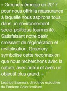 Pantone Vert Greenery la couleur de l'année 2017