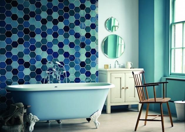 mosaique bleu fonce turquoise mint hexagonale murale