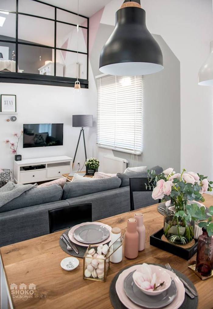 salon aux touches de roses style scandinave