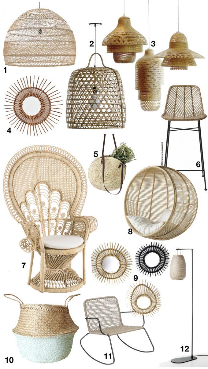 deco rotin osier palmier bambou lampe lampadaire suspension sac fauteuil suspendu chaise blog déco clemaroundthecorner
