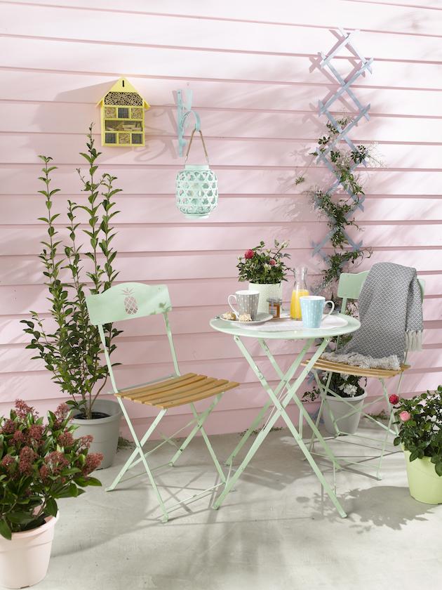 décoration tati meuble de jardin metal bois pliable vert ananas