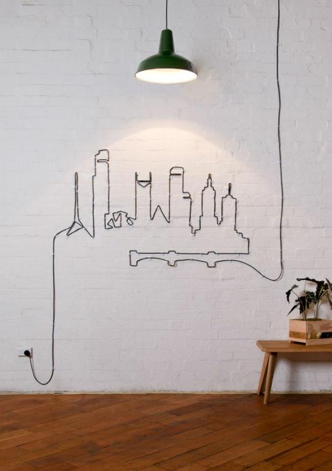 dessin immeuble au mur avec cable electrique diy deco