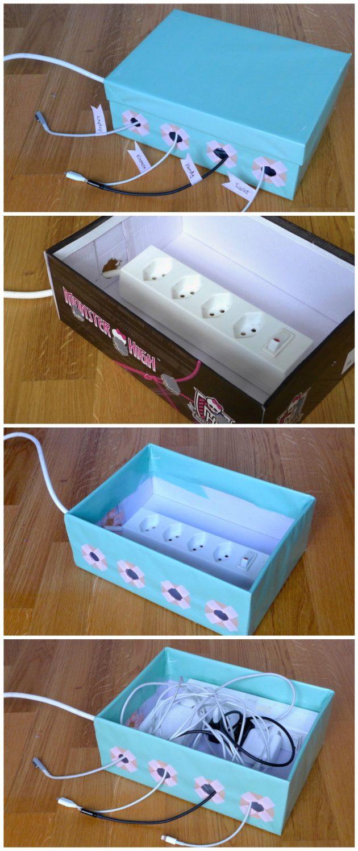 boîte bureau pour cacher des fils électriques