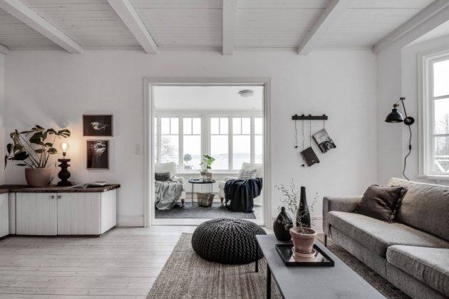 séjour salon noir et blanc camaieux gris