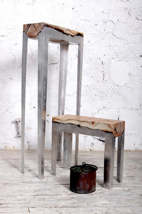 fabriquer un banc avec une souche darbre et du métal hilla Shamia