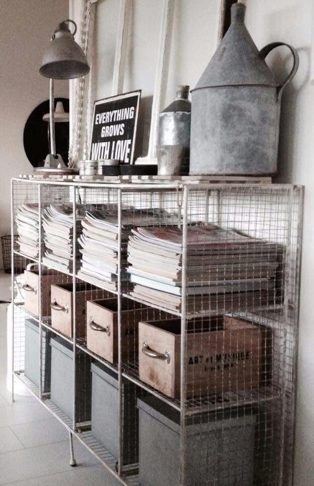 meuble de rangement style loft étagère grillage récup - blog déco - clem around the corner