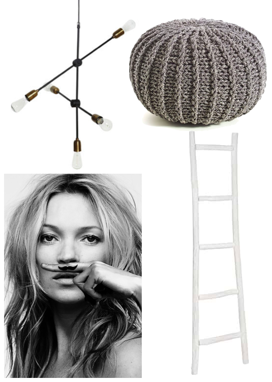 maison jaune decoration affiche kate moss moustache