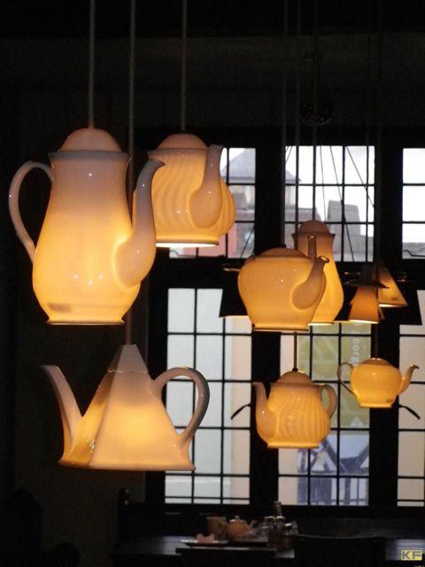 lampe théière et tasse thé style anglais original btc