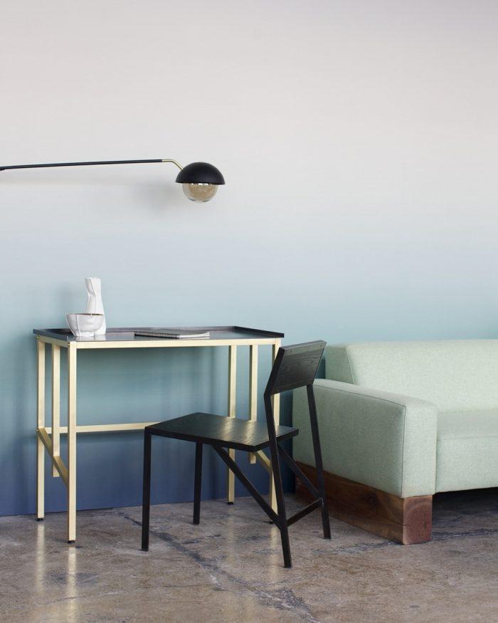 coin bureau mur tie and dye bleu vert d'eau