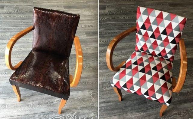 avant après fauteuil retapisser tissu moderne