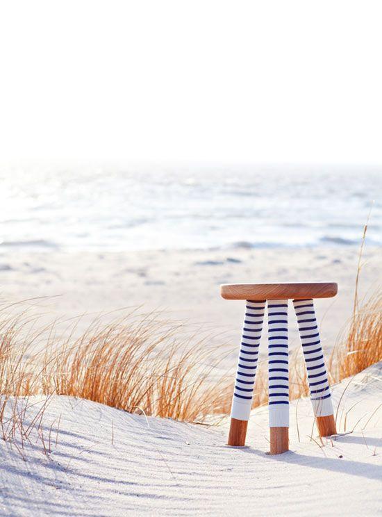 déco printemps et tabouret pull marin